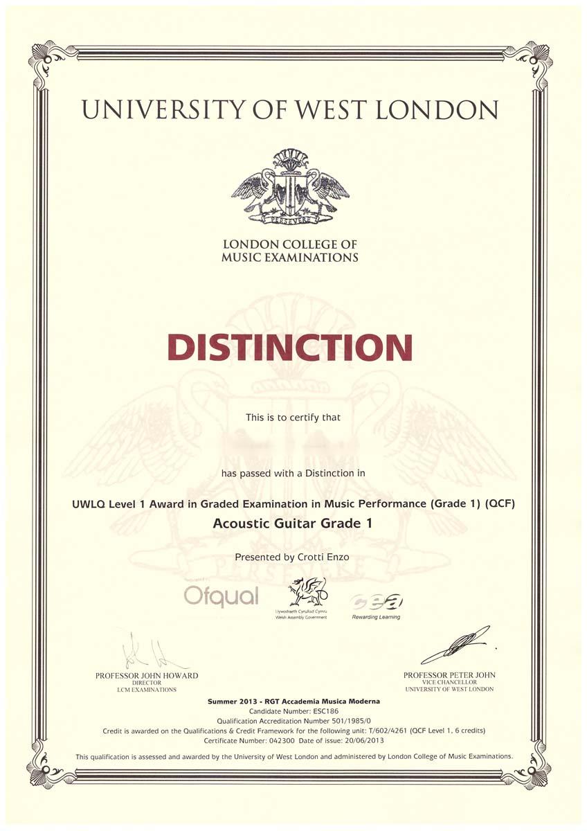 Diploma in chitarra LCM-RGT